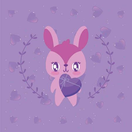 Rabbit cartoon with leaves wreath design of Happy valentines day love passion romantic wedding decoration and marriage theme Vector illustration