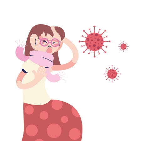 young woman with coronavirus symptoms vector illustration design Ilustrace