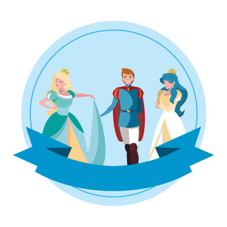prince charming and two princess of tales characters vector illustration design Çizim