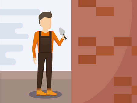 construction worker with spatule vector illustration design