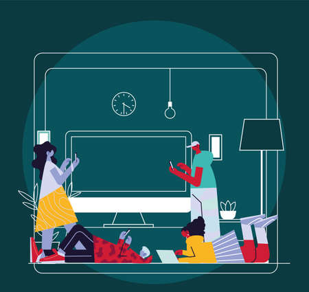 people connected online at home by different electronic means vector illustration design 矢量图像