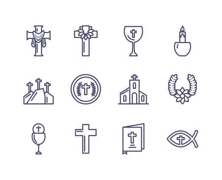 catholic related icons and happy easter icons set over white background, line style icon, vector illustration Stock Illustratie