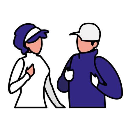adventurous couple avatar character vector illustration design Illusztráció