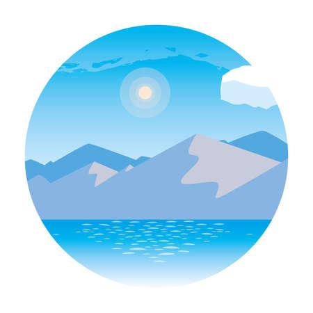 landscape with lake scene in frame circular vector illustration design Çizim