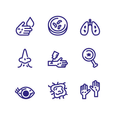 chemical and bacteria icons set over white background, thick line style, vector illustration
