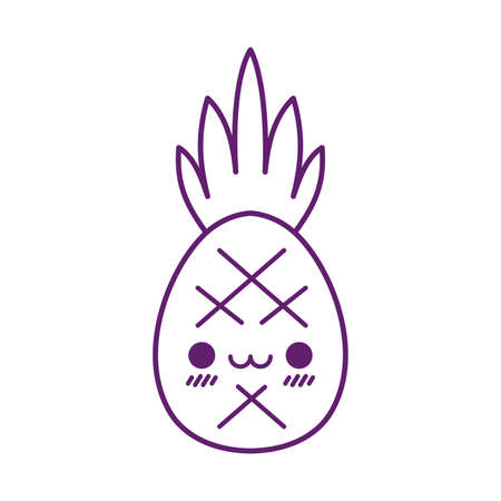 pineapple cartoon line style icon design, Kawaii food cute expression character funny and emoticon theme Vector illustration