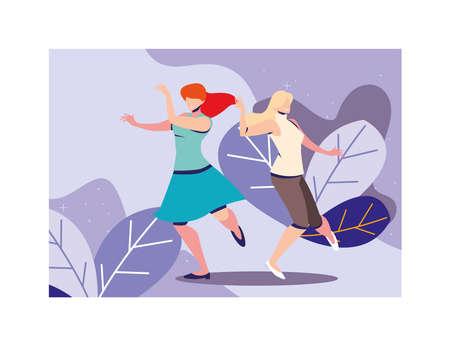 women dancing with landscape background vector illustration design