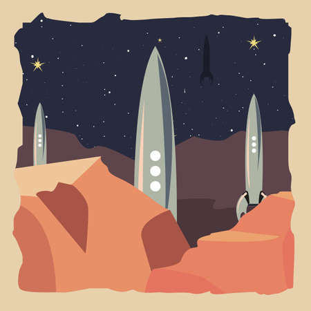spaceship on planet surface explorer vector illustration