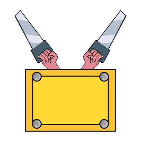 hands saws construction board tool vector illustration design