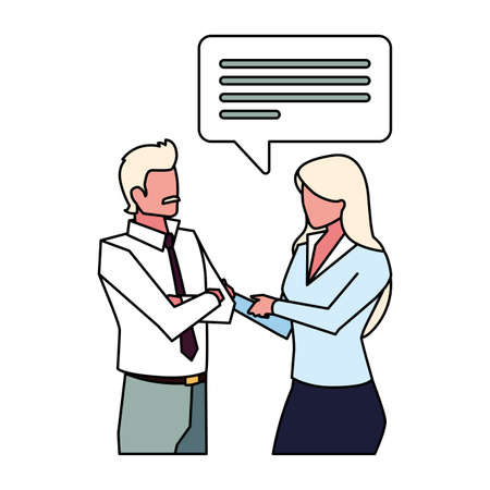 business couple with speech bubble on white background vector illustration design Archivio Fotografico - 150761106