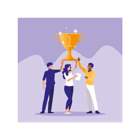group of people with gold trophy, successful business team vector illustration design Ilustrace