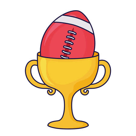 Ball and trophy design, American football super bowl sport hobby competition game training equipment tournement and play theme Vector illustration