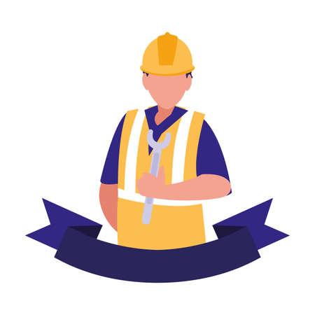 technician man in uniform with equipment on white background vector illustration design 일러스트