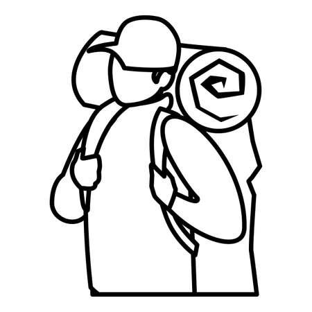 adventurous man with travelbag vector illustration design Illusztráció