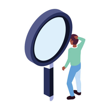businessman with magnifying glass on white background vector illustration design