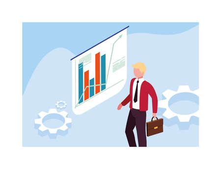 man with graphs in front, business working processes vector illustration design Illusztráció