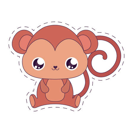 monkey cartoon design, Kawaii expression cute character funny and emoticon theme Vector illustration