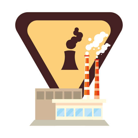 factory with smoke clouds on white background vector illustration design