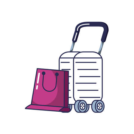 suitcase with wheels and shopping bag vector illustration design