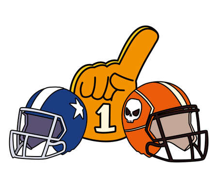 american football helmets and hand gloves on white background vector illustration design