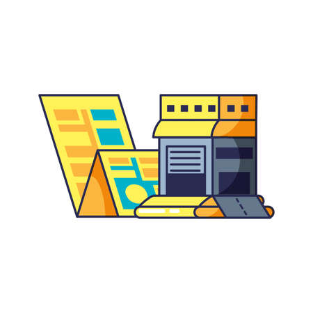 warehouse building with map guide location vector illustration design