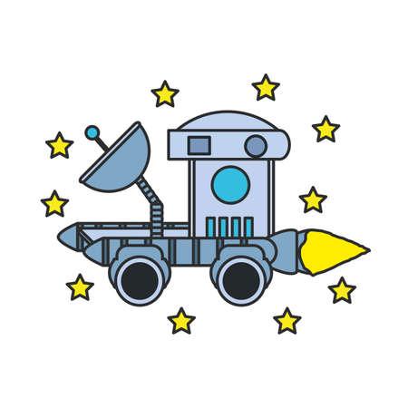 space explorer car with set of stars vector illustration design Illusztráció