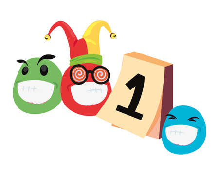 emoji hat calendar humor april fools day vector illustration  イラスト・ベクター素材