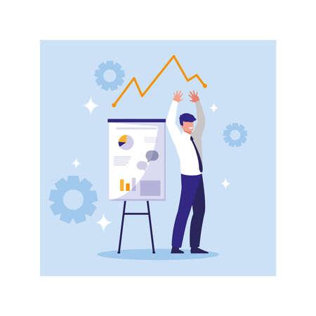 businessman with graphs in front, business working processes Illusztráció