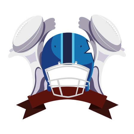american football award with helmet on white background vector illustration design