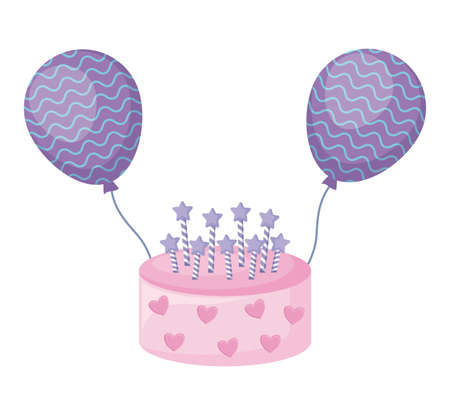 sweet cake with candles and balloons helium vector illustration design