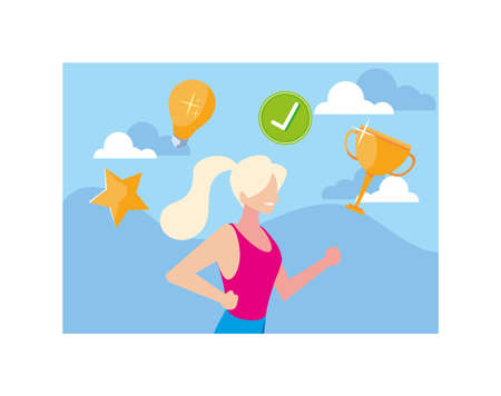 woman with set of icons, goals, way to success vector illustration design Ilustrace