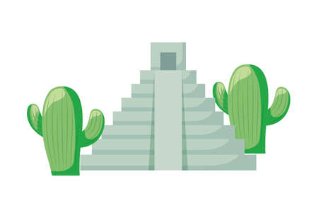 cactus with pyramid mexican isolated icon vector illustration design Vettoriali