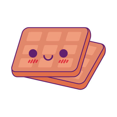 waffles cartoon line and fill style icon design, Kawaii food cute expression character funny and emoticon theme Vector illustration