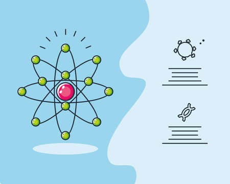 infographic with atom, research coronavirus vector illustration design Illusztráció