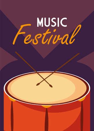 poster music festival with musical instrument vector illustration design Illusztráció