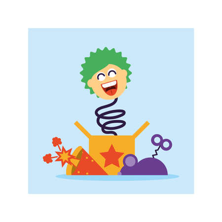 funny surprise box, fools day vector illustration design
