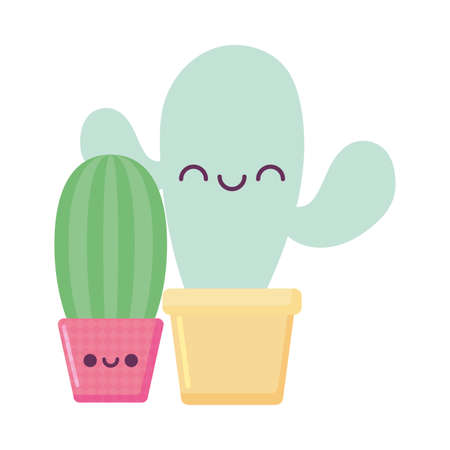 cactus plants cartoons design, Kawaii expression cute character funny and emoticon theme Vector illustration