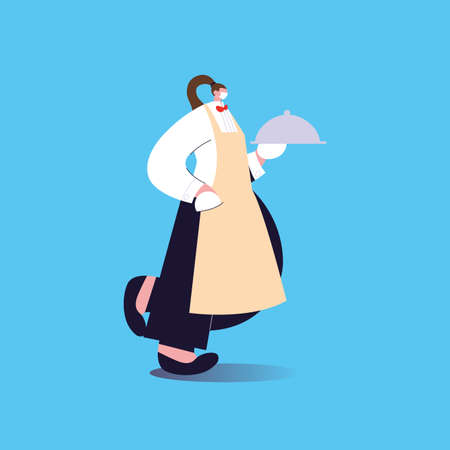 woman waitress with face mask and uniform vector illustration design