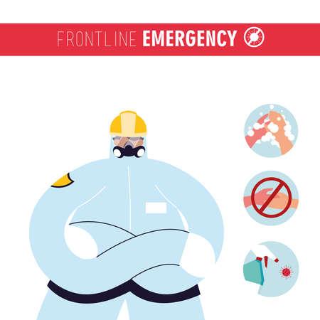 Frontline medical team provides recommendations to avoid coronavirus vector illustration design  イラスト・ベクター素材