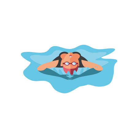 swimming woman on white background vector illustration design
