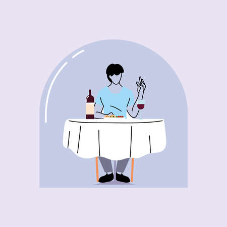social distancing in restaurant, man eating on table, protection and prevention of coronavirus or covid-19 vector illustration design