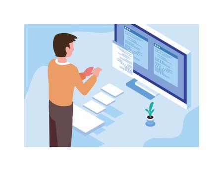 man working in front of computer screen vector illustration design Illusztráció