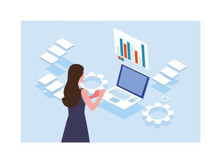 woman working in front of laptop vector illustration design Illusztráció