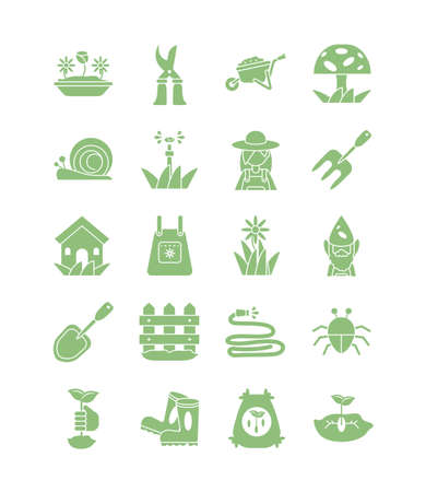 icon set of gardening concept over white background, silhouette style icon, vector illustration