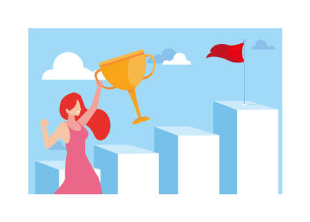 woman running up stairway to the top of mountain, way to success vector illustration design Ilustrace