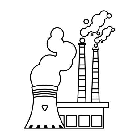 nuclear reactor with smoke clouds on white background vector illustration design