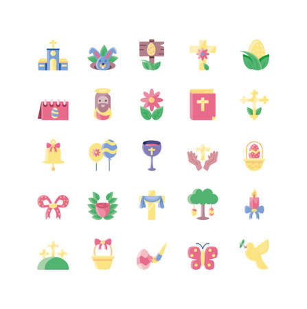 happy easter and cute rabbits icon set over white background, flat style and colorful design, vector illustration Illusztráció