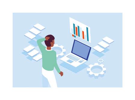 man working in front of laptop vector illustration design