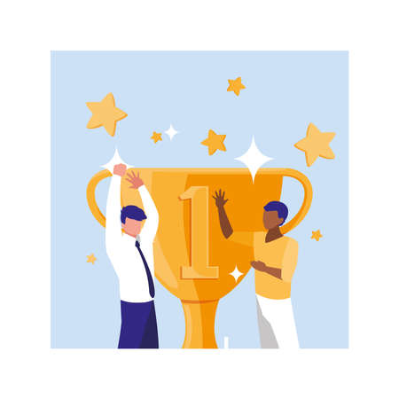 businessmen with gold trophy, successful business team vector illustration design