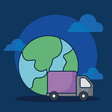 cargo transport truck with planet earth vector illustration design